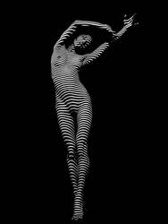 9692-DJA Nude Young Woman BW Zebra Stripe Abstract by artonline