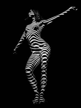 3699-MM Zebra Striped Woman Fine Art Nude BW Curve