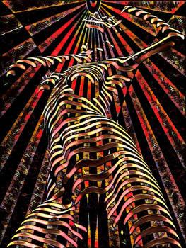 7068-KMA Female Figure Energy Abstract Art Spirit