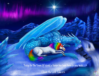 138 Light blue Ice Dragon And The unicorn by TheHolySpiritSpeaks