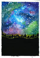 Watercolor Galaxy by acarlizeynep