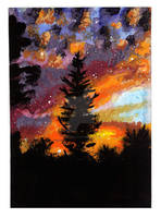 Watercolor Burning Sky by acarlizeynep