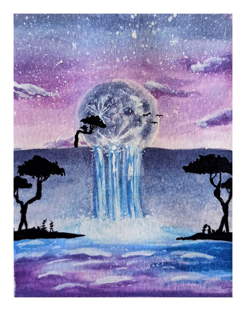 Watercolor Magical Waterfall Scenery