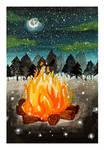 Bonfire and Fireflies