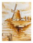 Watercolor Sepia Windmill