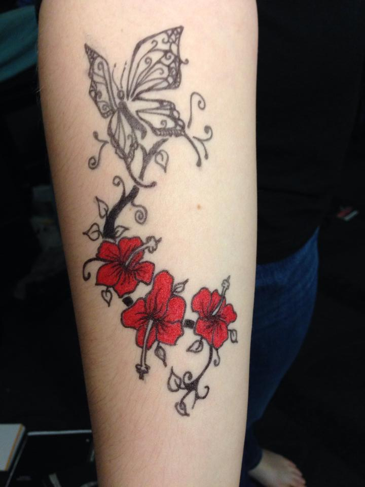 Sharpie Tattoo (Butterfly And Hibiscus Flowers) By
