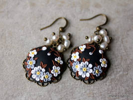 Polymer Clay Floral Applique Earrings with Pearls by CharanCreations