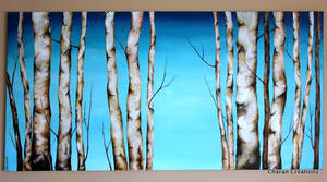 Birches - Acrylic on Canvas 24x48in by CharanCreations