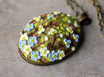 Polymer Clay Floral Applique Pendant Necklace