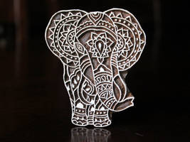 Wood  Hand Carved Block Stamps- Tribal Elephant by CharanCreations