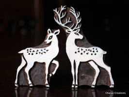 Hand carved woodblock stamps- Buck and Doe by CharanCreations