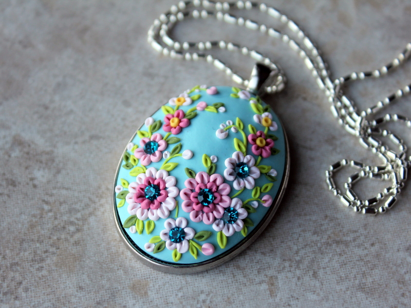 Polymer Clay Embroidery Pendant Necklace by CharanCreations