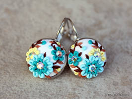 Lovely Floral Polymer Clay Applique Earrings by CharanCreations