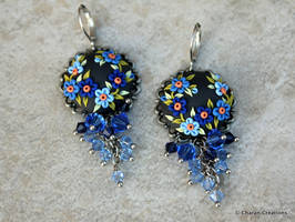 Statement Earrings in Polymer Clay Applique by CharanCreations