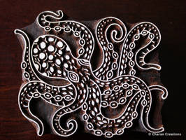 Octopus- Hand carved woodblock stamp by CharanCreations