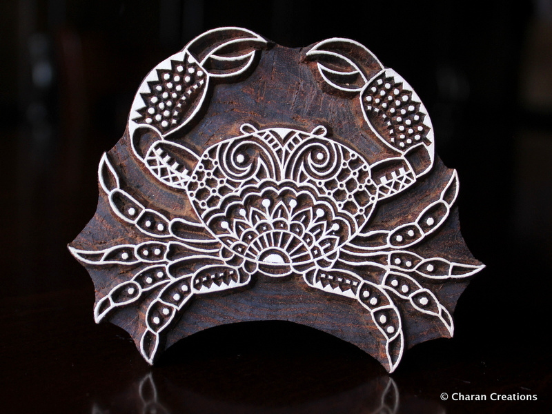 Zentangle crab hand carved wood stamp by charancreations