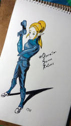 Zelda x zero suit Samus by wekufeh