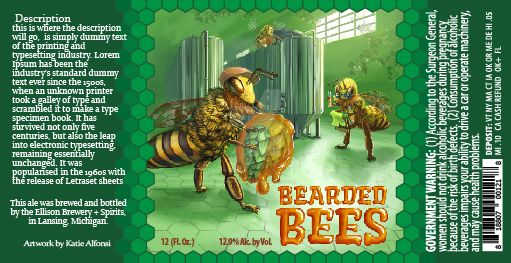 Beer Label Art WIP6 Bearded Bees by saving-paints