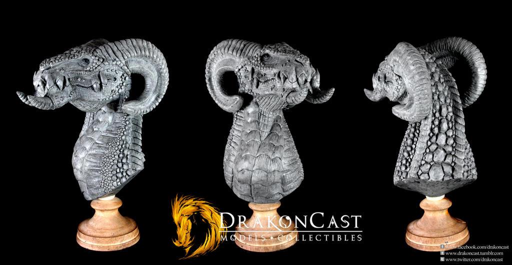 Ram Dragon bust final sculpt by drakoncast