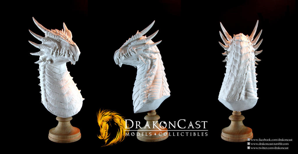 Spined Dragon bust - resin cast by drakoncast