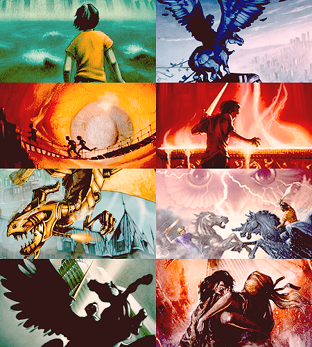 Percy Jackson Book Cover Art : Percy jackson novel series book cover collage by