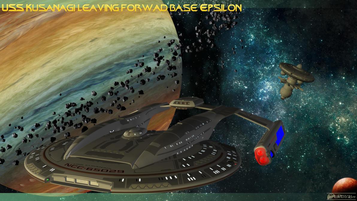 Uss Kusanagi leaving forward base Epsilon by MotoTsume