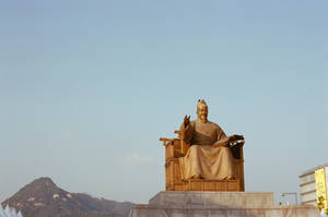 Gwanghwamun: King Sejong in Gold by neuroplasticcreative