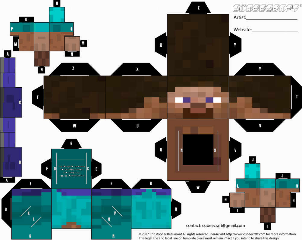 Minecraft Steve Printout Minecraft player cubeecraft by