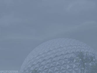 Spaceship Earth Cloudy Day by strangetikigod