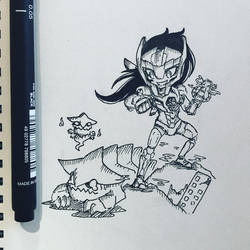 Inktober 7 Gypsy Avenger Girl