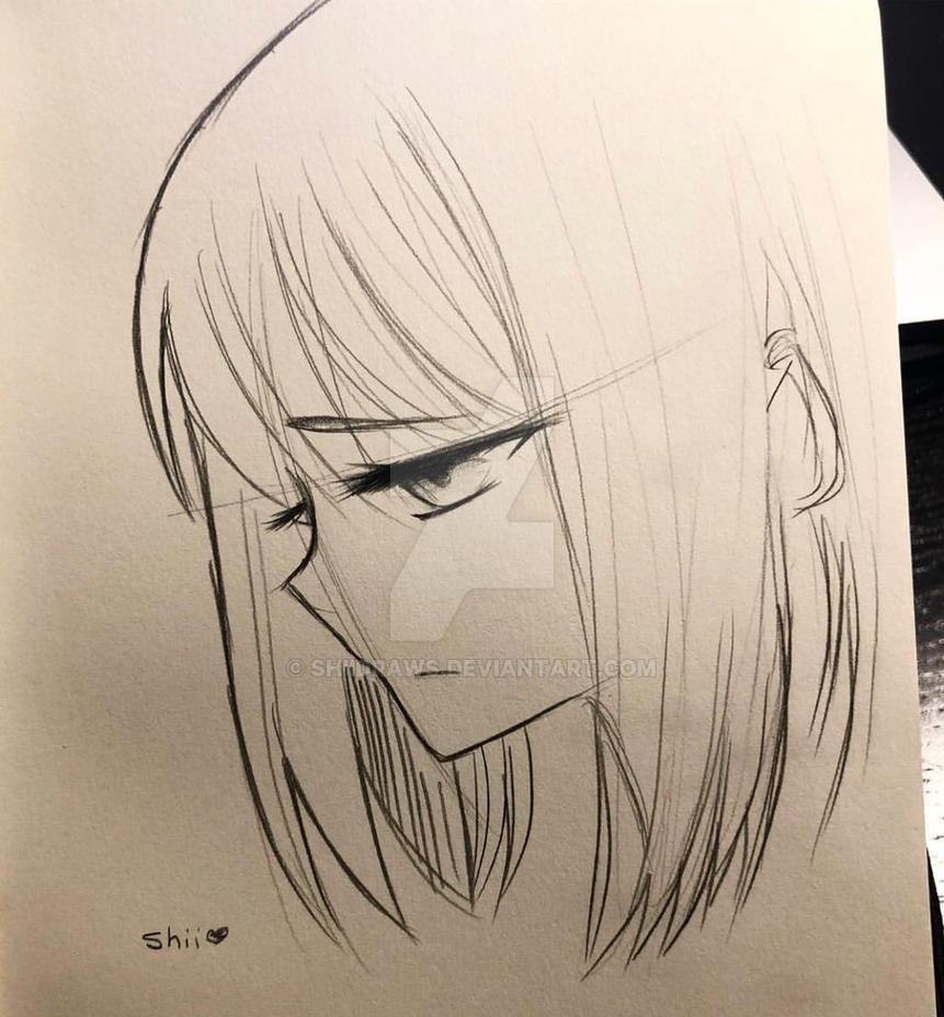 Sad girl sketch by shiidraws