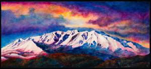 Sunset on Timpanogos, 2017, Oil and Acrylic, 80x36