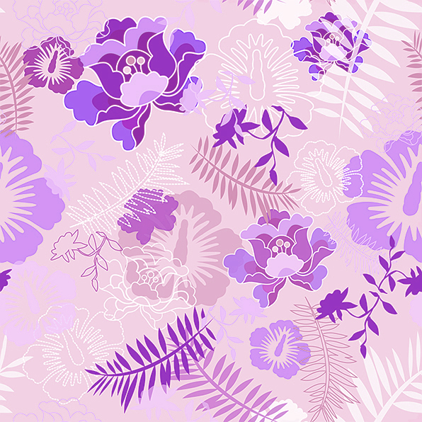 Floral Botanical 2 Purple by chamelledesigns