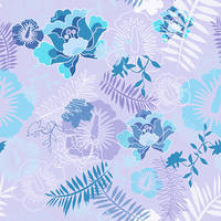 Floral Botanical 3 Blue by chamelledesigns