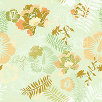 Floral Botanical 5 Mint Peach by chamelledesigns