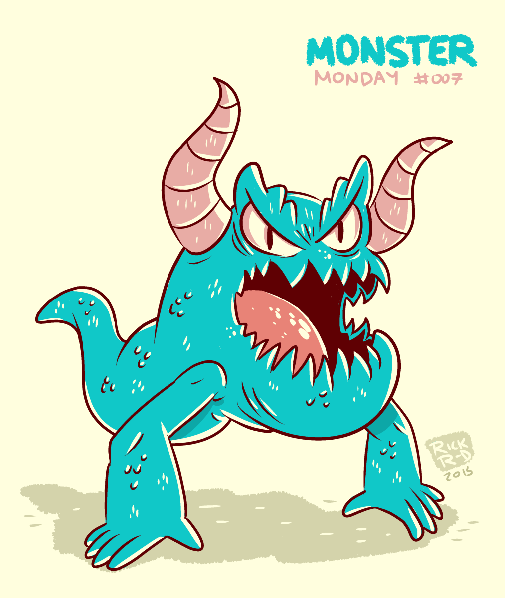 Monster Monday 007- No legs, two horns monster by rickruizdana