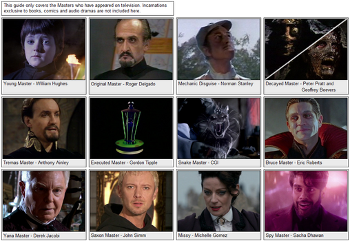 All Main Incarnations of the Master