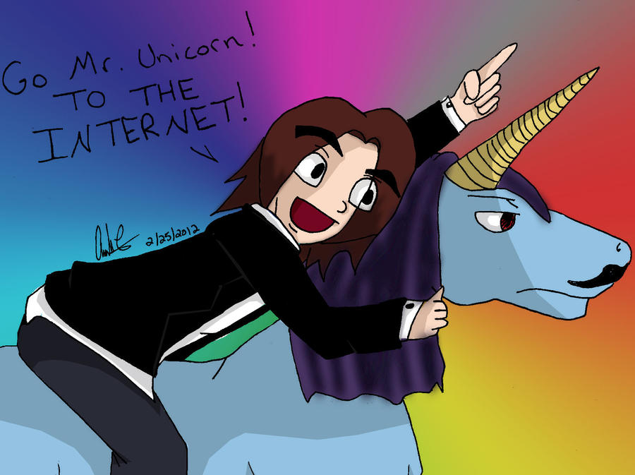 Egoraptor riding a unicorn with a mustache by ...Unicorns With Mustaches