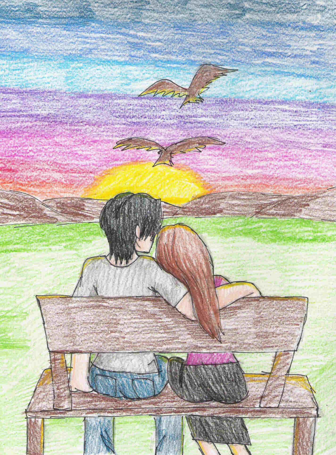 Couple with sunset by Darkfire75 on DeviantArt