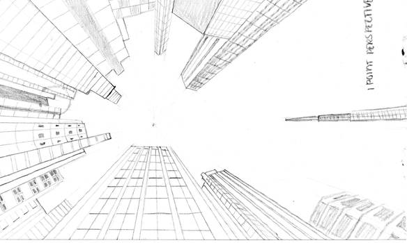1 point perspective the Skyscrapers