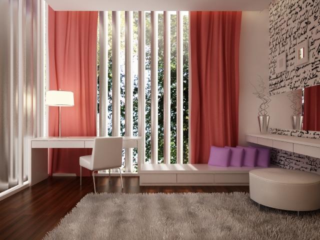 render girls bedroom pink 3d