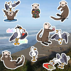 Otter and Gull stickers by lunar-neo