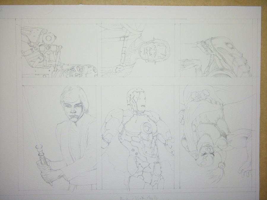 Fan art Sketch Cards pre paint by Dtronaustin