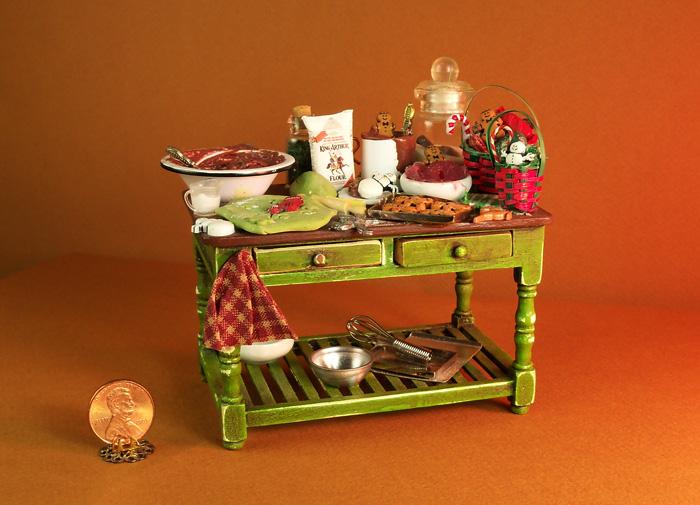 Christmas Dollhouse Miniatures.Verona Barrella Ooak Dollhouse Miniature Table By