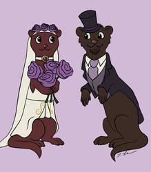a wedding card with ferrets