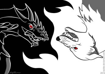 Birthday card: Dragon and Direwolf