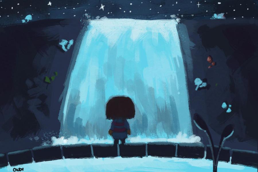 Waterfall by MugiwaraWolf