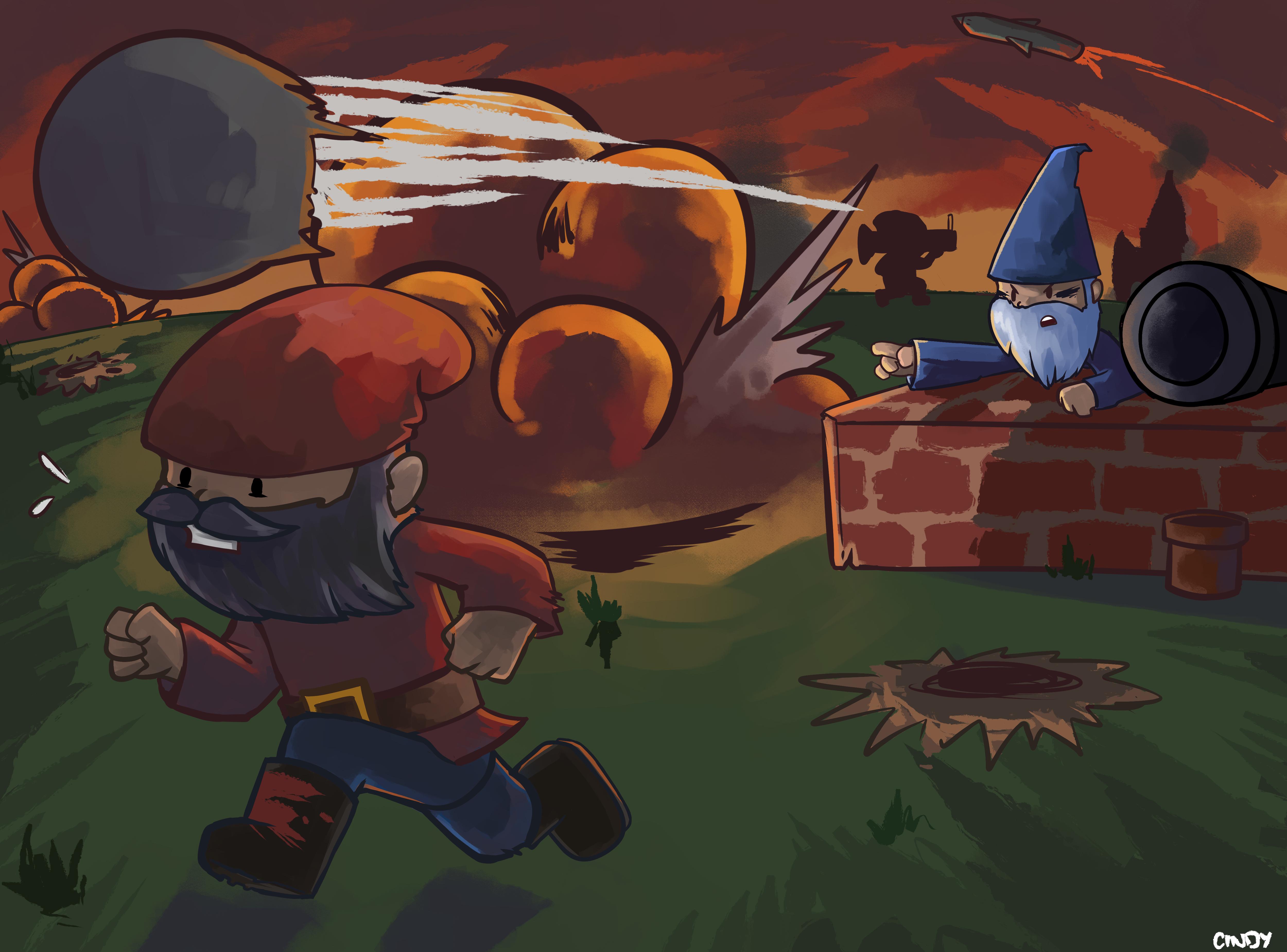 Garden Gnome Warfare by MugiwaraWolf
