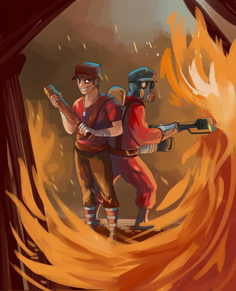 Scout and Pyro by MugiwaraWolf