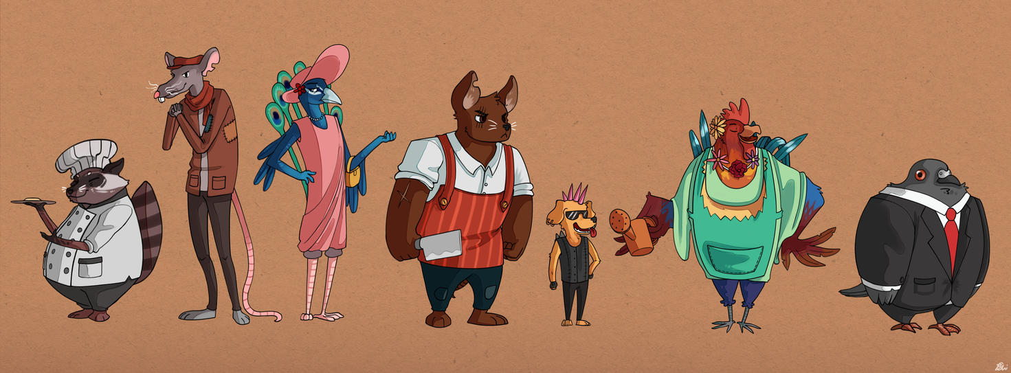 Character design line up by MugiwaraWolf